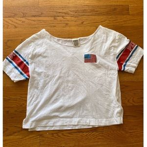 PINK Victoria Secret Red, White, Blue Cropped Tee